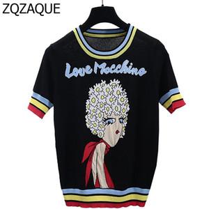 Atacado New Hot celebridades mesmo estilo Moda Malha os t-shirt com padrão menina Cartas Casual Contraste Cor Preto Tops SY1066