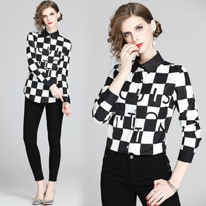 Quality Elegant Tops Designer Designer Camicie Plus Size Donne Lantern Sleeve Fashion Ladies Stampato Camicette Slim Casual Office Punteway Shirt