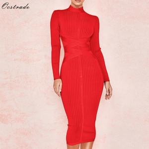 Ocstrade Новое прибытие 2019 женщин Midi платье повязки Red Sexy High Neck с длинным рукавом Bodycon платье повязки Rayon Бальные платья Y200102