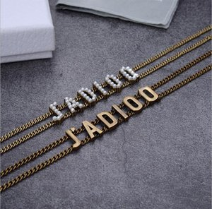Retro letter personality light luxury collarbone female double chain letter Bracelet Necklace
