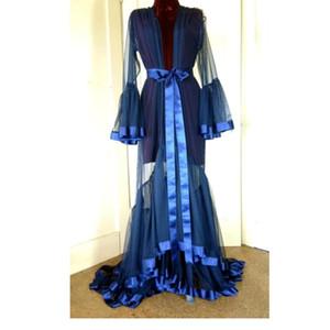 Kraliyet Mavi Uzun Kadınlar Gece Robe Bornoz Tül Pijama Gelin Parti Gelin Gelinlik Elbiseler Nightgowns Lingeries Düğün Hediyeleri See Through