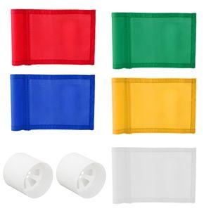 5pcs 7x5 '' Golf Putting Green Flag com plástico Insert 2 furos Cup para Yard