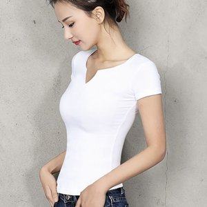 Хлопок Женская футболка v-образным вырезом с коротким рукавом женская рубашка Все матч Леди топ черный белый серый желтый Шир Y200412