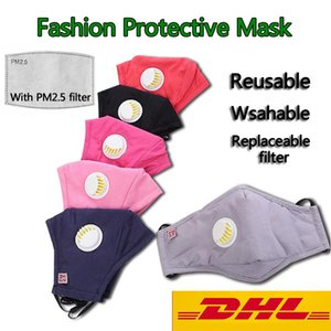 In Stock Hot Selling Reusable Unisex Cotton Face Masks With Breath Valve PM2.5 Mouth Mask With Filter Anti-Dust Fabric Mask Washable Mask