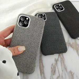 Solid Color Canvas Phone Case For iPhone 11 Pro XR XS Max 6 6S 7 8 Plus X tina