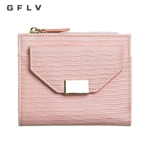 GFLV  Fashion Small Wallet Women Square Metal Hasp Coin Purse Wave Leather Wallet High Quality Zipper & Hasp Purse
