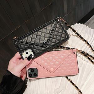 Luxo Cartão Moda Titular slot Bolsa Cadeia Longa Handbag Lambskin Leather Case Capa Para Iphone 11 Pro Max XS Max XR X 8 7 6 6S Além disso,