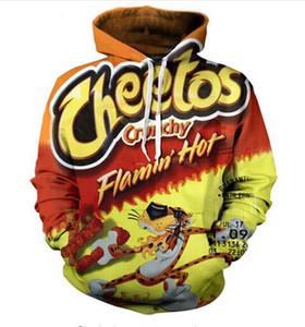إطلاق جديد أزياء الرجل المرأة مصمم الكمال المتناثرة نمط فلامين حار cheetos 3d الطباعة طويلة الأكمام هوديس عارضة الرياضية RW035