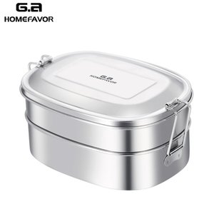 G.a HOMEFAVOR Top Grade 304 Stainless Steel Lunch Box Bento Box Eco-Friendly 2 Layer Durable Food Containers Stock T200429
