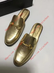 Top diseñador de cuero de oro Hombres Mujeres Princetown mulas mocasines diapositivas con zapatillas bocado de oro zapatos EUR34-46 informal