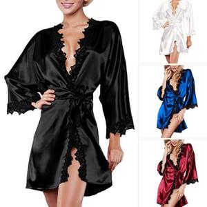 Summer Sexy Women Satin Lingerie Robe Dress Sleepwear Nightwear Underwear G-String Black White Plus Size S-2XL