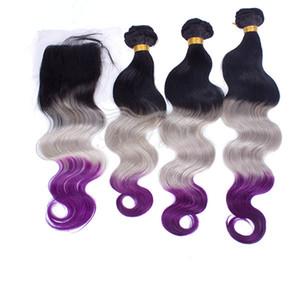 3 لهجة الشعر ينسج 1b ملحقات الشعر الأرجواني الرمادي مع إغلاق الدانتيل أومبير الجسم موجة الشعر مع إغلاق الرباط