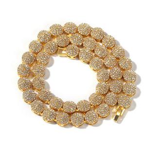Mens 18K Lega Cluster catena di 10mm 18inch 20inch Jewelry Hiphop collana di cristallo strass Diamante Bling Bling