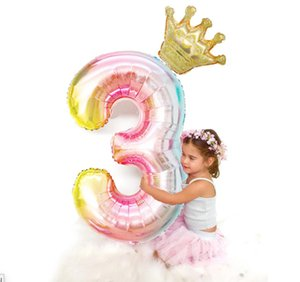 40inch birthday Number balloons 40'' Kids Crown Ballon SET Aluminum Film baloons New Year Baby girl Boy Party Xmas halloween Novelty Gag Toy