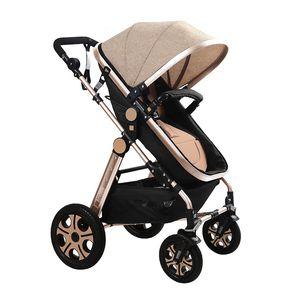 Baby Stroller High Landscape Folding Two-way Sitting Reclining Newborn Stroller Seat Adjustable Easy To Fold Aluminum Alloy Car