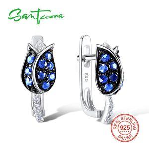 Santuzza Boucles d'oreilles en argent pour les femmes 925 Sterling Silver Stud Earrings Silver Blue Tulip Cubic Zirconia Brincos Bijoux De Mode J190719