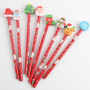 Kurşunkalem Kırtasiye Kalem Promosyon Hediye Hediyeler Çocuk Ahşap Eraser ile 5 adet / lot Kawaii Noel Okulu