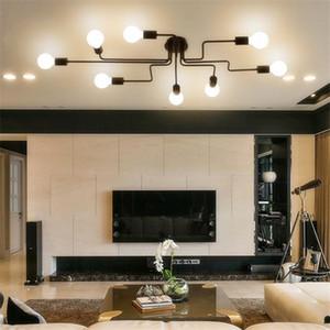 Personalidade lâmpada do teto luz lustres de teto de ferro levou longo lustre de ferro quarto lâmpada sala de estar decoração iluminação personalização