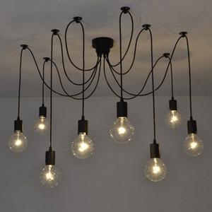 Mordern Nordic ретро Эдисон лампочка Люстра Vintage Loft Античного Регулируемый потолок DIY Art паук лампа светильник