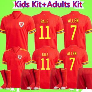الكبار + KIDS KIT 2020 2021 ويلز لكرة القدم جيرسي دعوى 20 21 قميص كرة القدم BALE JAMES الفتيان مجموعات مايوه دي القدم RAMSEY أحمر Camisetas