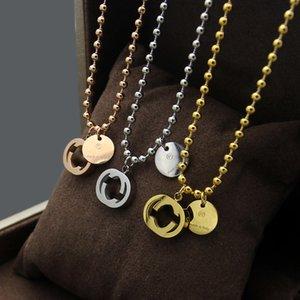 Европа Америка мода стиль леди титановая сталь 18k золотые круглые бусины цепные ожерелья с выщелаживающими выгравами g письмо двойные подвески