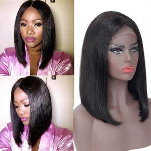 150% de densidad Bob recta cabello humano 4x4 pelucas de encaje de naturaleza Color de cordón Peluca delantera Pelucia recta peruana Bob WIG GAGA Queen