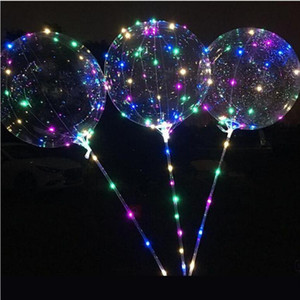 LED parpadeante bola con Bobo 70cm globo Cadena palillo de 3M transparente de iluminación luminoso globos para la fiesta de Brithday Inicio Decoración de la boda