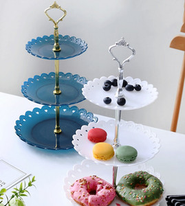 3 Tier Cake Stand Plates Style European Wedding Party Multi Layer Plastic Three-tier Fruit Tray Snack Candy Tray