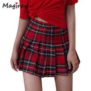 Preppy Harajuku A-Line Mini Plaid Skirt Bola menina de cintura alta plissada Sailor coreana Kawaii doce Uniforme Escolar Short Skirt Skort Y200704