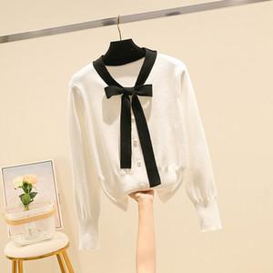 Moda Donna Autunno Inverno lettera modello Maglione fatto a maglia a maniche lunghe Womens maglieria Pullover Donna maglioni elegante Knit Tops S11