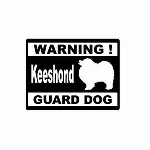 15 * 11.4 CM ADVERTENCIA KEESHOND GUARD DOG Etiqueta de vinilo del coche de cuerpo entero Etiqueta Negro / Plateado CA-1192