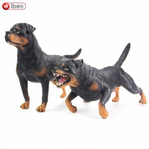Wiben Hot toys Pet dog Rottweiler Simulation Animal model Action & Toy Figures Learning & Education Gifts T200609