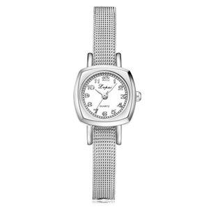 LVPAI Damen elegante Metall-Mesh-Band-Armbanduhr-Frauen-Edelstahl-Klein Zifferblatt Quarzuhr weibliche Uhr #Zer