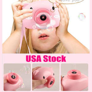 US Stock Fun Cute Cartoon Pig Camera Kids Baby Bubble Machine Outdoor Automatic Bubble Maker Surprise Gift for Bath Toys for Children