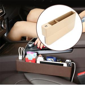 USB soketi ile CARPRIE 2019 Yeni Çok fonksiyonlu Saklama Kutusu Deri Kutusu Araç Değişim t Yarık Depolama