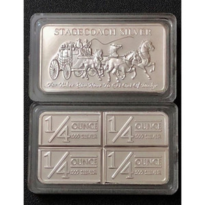 wholesale America One Ounce Stagecoach Silver Bar 999 Fine Silver Plated Coin Bars Stagecoach Silver Bar 50pcs lot DHL Free Shipping