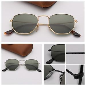 여자 선글라스 패션 디자인 육각형 선글라스 여성의 레이 유리 렌즈 태양 안경 남성 합금 프레임 케이스와 안경 Oculos 드 솔
