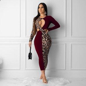Haoyuan Plus Size Leopard Splice Night Club partito sexy delle donne di caduta abiti abito a manica lunga Vestito aderente Abiti Vintage Midi