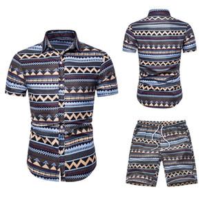 Mens Designer Stampa estate tute casual risvolto collo Maglie a manica corta pantaloni di scarsità vestiti di modo Hawaii Style