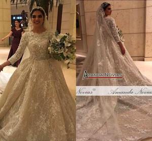 2020 Bola Flores Chamagne 3D vestido de casamento Vestidos muçulmana mangas compridas Open Back Plus Size Vestido de Noiva real Pictures