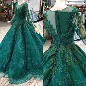 2020 Grün Muslim Quinceanera Abendkleider Spitze mit langen Ärmeln O Ansatz-Korn-Blumen-Ballkleid-Abendkleider Mädchen-Festzug-Kleid BC3693
