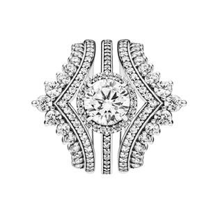 3 en 1 ANILLO de lujo princesa con Wish anillos redondos de la chispa del anillo de Halo para Pandora Anillo de plata 925 con la caja original