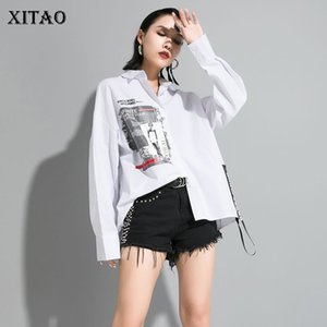 Xitao padrão da cópia Letter Blusa Moda de Nova Mulheres 2020 Primavera elegante Irregular Patchwork Minority Casual plissadas shirt XJ3773