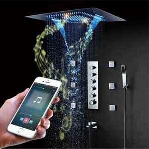 LED 음악 샤워 헤드 800 * 600mm 스프레이 폭포 강우량 샤워 욕실 온도 조절 샤워 꼭지 단위 스피커 큰 물 흐름을 샤워