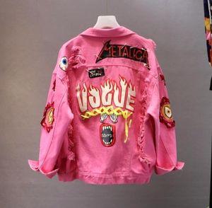 레드 / 옐로우 청바지 재킷 새로운 봄 가을 여성 낙서 알파벳 인쇄 레이스 활 핀 구멍 데님 자켓 학생 기본 Coatt191018