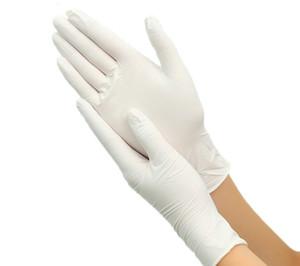 100pcs jetables Gants en latex blanc antidérapantes laboratoire latex de caoutchouc Gants de protection à chaud de vente Produits ménagers
