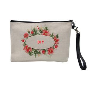 Sublimation Linen cosmetic bags DIY women blank plain zipper phone makeup clutch bag storage organization 50pcs 23cmx16cm