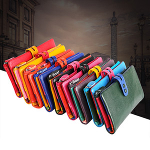 Genuine Leather Casual Women Long Clutch Wallets Fold Over Zipper Purses Phone Pocket Banknote Pouches Organizer Bag Colorful Handbags New