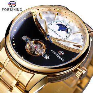 Forsining Homens Relógio Automático Golden Sun Moon Phase Steel Band Tourbillon Preto cara branca Negócios Mecânica Reloj Hombre 2019