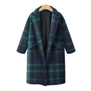 Winterkleidung Plus Size Frauen Wild Green Plaid Wolle Plus Baumwolle Jacke Mode langen Abschnitt außerhalb